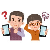 Pensionär som oroar, och smartphone vektor illustrationer