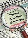 PensionärAndroid tekniker Join Our Team 3d Royaltyfria Bilder