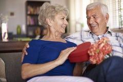 Pensionären kopplar ihop förälskat Royaltyfri Fotografi