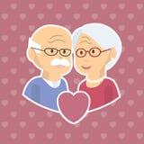 Pensionären kopplar ihop förälskat royaltyfri illustrationer