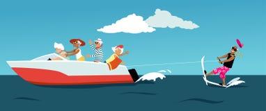 Pensionärer för vattenskidåkning stock illustrationer
