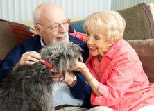 Pensionärer hemma med deras hund royaltyfria foton
