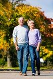 Pensionärer i gå hand för höst eller för fall - in - hand fotografering för bildbyråer