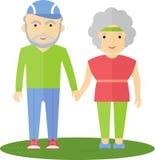 Pensionärer kopplar ihop ut för en gå Fotografering för Bildbyråer