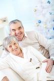 Pensionärer på jul Royaltyfria Bilder