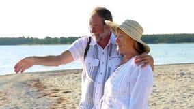 Pensionärer på stranden stock video