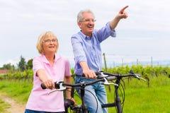 Pensionärer som övar med cykeln Fotografering för Bildbyråer