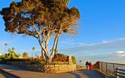 Pensionärer som går i Heisler, parkerar, Laguna Beach, CA Arkivbild