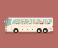 Pensionärlopp med bussen stock illustrationer
