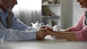 Pensionärmaken som ömt rymmer fruar, räcker och att ha te tillsammans, lycka arkivbilder