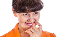 Pension age good looking woman portrait in the City, London Royalty Free Stock Images