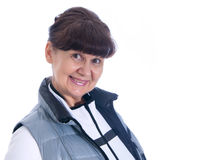 Pension age good looking woman in sport outfit Royalty Free Stock Photo