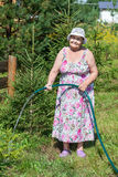 Pension age woman pouring trees at country residence Royalty Free Stock Images