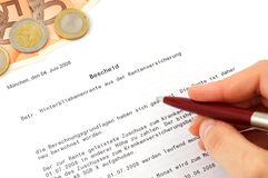Pension approval certificate. German pension approval certificate as symbol for the significance of the states pension Royalty Free Stock Photos