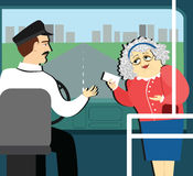 Pension benefits. retired man in the bus reaches a ticket to driver. Old woman in the bus givec a ticket to the driver Royalty Free Illustration