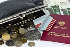 Pension certificate and medal veteran labor Royalty Free Stock Photography