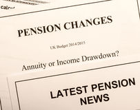 Pension change documents royalty free stock photo