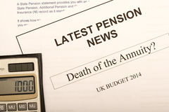 Pension change documents. Reflecting major change in UK pension laws from 2014 Royalty Free Stock Photo