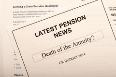 Pension change documents. Reflecting major change in UK pension laws from 2014 Royalty Free Stock Photos