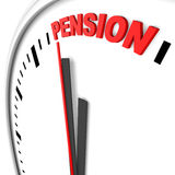 Pension. Clock and red pension text Stock Photography