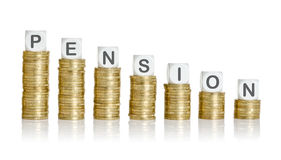 Pension. Coin stacks with letter dice - Pension Royalty Free Stock Photography