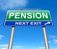 Pension concept. Illustration depicting a sign with a pension concept Royalty Free Stock Photo
