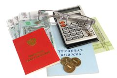 Pension documents, money, calculator and glasses isolated on whi. Te background Royalty Free Stock Photography