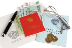 Pension documents, money, envelope, pen and glasses isolated on Royalty Free Stock Photos