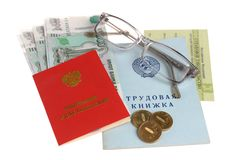 Pension documents, money and glasses. On a white background Stock Photo