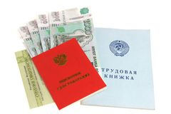 Pension documents and money. On a white background stock image