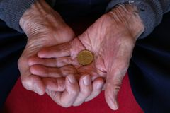 Euro in the hands of the old man. Pension / Euro in the hands of the old man royalty free stock image