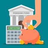 Pension fund concept vector illustration in flat Royalty Free Stock Images