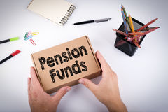 Pension Funds concept. Courier delivered  box to the office Stock Image