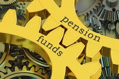 Pension Funds concept on the gearwheels, 3D rendering. Pension Funds concept on the gearwheels, 3D Royalty Free Stock Images