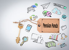 Pension Funds Concept. Key and a note on a white background Royalty Free Stock Photography