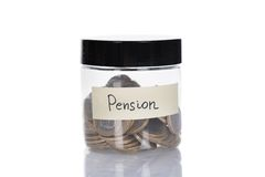 Pension Jar Filled With Coins Stock Photography