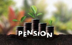 Pension money savings financial concept and retirement and peopl. E Investment growing Royalty Free Stock Photography