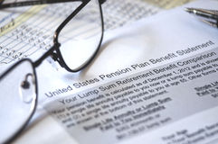 Pension Plan Benefit, selective focus Royalty Free Stock Images