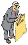 Pension policy. Figure pensioner with a pension insurance policy in hand stock illustration