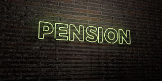 PENSION -Realistic Neon Sign on Brick Wall background - 3D rendered royalty free stock image Royalty Free Stock Photo