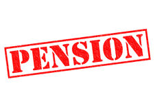 PENSION. Red Rubber Stamp over a white background Stock Photos