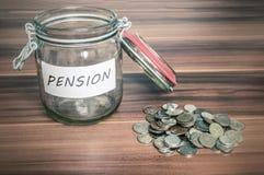 Pension savings in jar Royalty Free Stock Photography