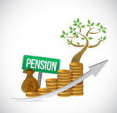 pension sign coin tree graph illustration design Stock Photo