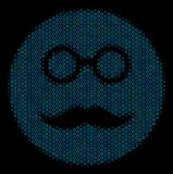 Pension Smiley Collage Icon of Halftone Bubbles. Halftone Pension smiley composition icon of circle bubbles in blue color tones on a black background. Vector Royalty Free Stock Photography