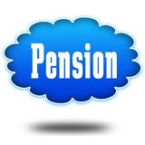 PENSION text message on hovering blue cloud. Royalty Free Stock Photos
