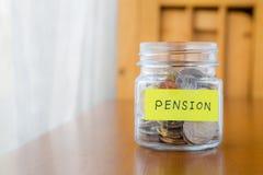Pension und Ruhestandsbezüge Stockbild