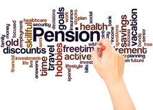 Pension word cloud hand writing concept. On white background royalty free stock images