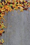 Pensionair van verschillende gekleurde bonen op houten achtergrond stock foto's