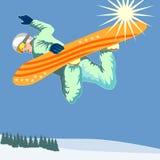 Pensionante della neve che ottiene una certa aria Fotografie Stock Libere da Diritti