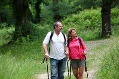Pensionati che fanno un'escursione sulla foresta Immagine Stock Libera da Diritti